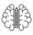 pen brain idea icon outline style vector image vector image