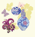 perfume bottle and background with flowers and vector image vector image