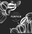 pumpkin design template hand drawn on chalk board vector image vector image