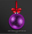purple glass christmas ball vector image