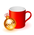 Red Cup and Christmas Ball vector image vector image