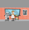 robot hairdresser making haircut to a hipster man vector image vector image