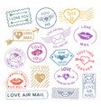Romantic letter mail stamp set