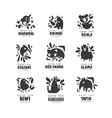 save wild animal logo design set protection of vector image