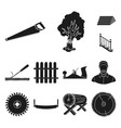 sawmill and timber black icons in set collection vector image