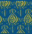 seamless ikat blue and yellow pattern vector image vector image