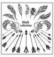 Set of black decorative feathers wings and arrows vector image vector image