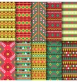 Set of seamless colorful geometric style design vector image vector image
