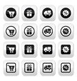 Shopping on internet black buttons set with shadow vector image vector image
