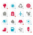 stylized ecology nature and environment icons vector image vector image