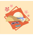 sun glasses and straw hat icon summer sea vacation vector image vector image