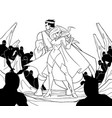 superhero couple back to back line art vector image vector image