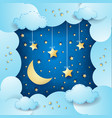 surreal cloudscape with moon and hanging stars vector image vector image