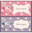 Vintage set of cards with baby carriages vector image vector image