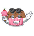 with ice cream cartoon chocolate muffins ready to vector image