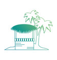 wooden kiosk and palm leaves on the beach vector image