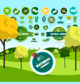 natural product and bio labels on meadow vector image