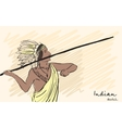Apache Indian warrior throwing a spear Corporate vector image