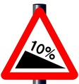 10 Percent Incline Traffic Sign vector image