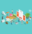 3d isometric flat concept online tax vector image