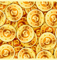 a lot of bright glossy golden coins with bitcoin vector image vector image