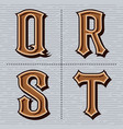 alphabet western letters vintage design q r s vector image