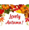 autumn season poster thanksgiving holiday design vector image vector image