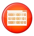Binary code icon flat style vector image vector image