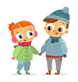 Boy and girl in winter clothes isolated on white vector image vector image