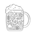 brewing icons in silhouette of beer mug vector image