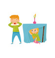 brother and sister playing hide-and-seek girl vector image vector image