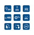car wash blue icons set vector image vector image