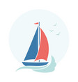 card with cute sailboat waves and gulls vector image vector image