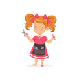 cartoon preschool girl with apron and barber tools vector image vector image