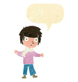 cartoon unhappy boy with speech bubble vector image vector image