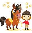 Child Stand with Small Horse vector image vector image