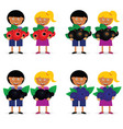 children holding berries fruit vector image vector image