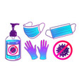 collection virus protection items vector image vector image
