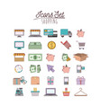colorful poster with shopping icon set vector image