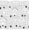 coloring seamless pattern with houses vector image vector image