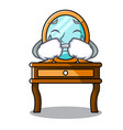 crying dressing table mascot cartoon vector image