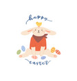 cute bunny sitting with painted eastern eggs vector image