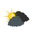 dark cloudy sun icon flat style vector image vector image
