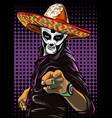 day of the dead sugar skull man mexican vector image vector image