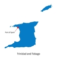 Detailed map of Trinidad and Tobago and capital vector image vector image