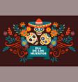 dia de los muertos skulls with sombrero vector image