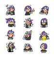 expressive purple haired girl sticker set 2 vector image vector image