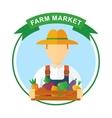farm market color logo vector image