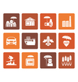 Flat different kind of insurance and risk icons vector image vector image