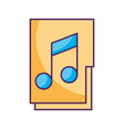 folder with music note isolated icon vector image vector image